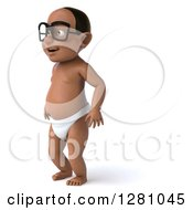 Clipart Of A 3d Happy Bespectacled Black Baby Boy Standing And Facing Left Royalty Free Illustration