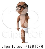 Clipart Of A 3d Happy Bespectacled Black Baby Boy Looking Around A Blank Sign Royalty Free Illustration