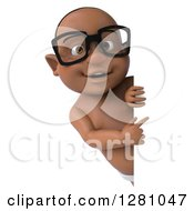 Clipart Of A 3d Happy Bespectacled Black Baby Boy Pointing Around A Blank Sign Royalty Free Illustration