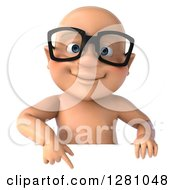 Clipart Of A 3d Caucasian White Baby Boy Wearing Glasses And Pointing Down Over A Sign Royalty Free Illustration