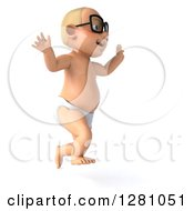 Clipart Of A 3d Caucasian White Baby Boy Wearing Glasses Jumping And Facing Right Royalty Free Illustration