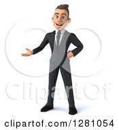 3d Young Brunette Caucasian Businessman Standing And Presenting