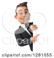 3d Young Brunette Caucasian Businessman Smiling And Pointing Around A Sign