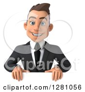 3d Young Brunette Caucasian Businessman Smiling Over A Sign