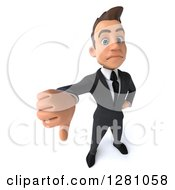 Clipart Of A 3d Young Brunette Caucasian Businessman Holding A Thumb Down Royalty Free Illustration