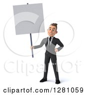 Clipart Of A 3d Young Brunette Caucasian Businessman Holding A Blank Sign Royalty Free Illustration