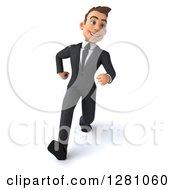 3d Young Brunette Caucasian Businessman Running