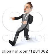 Clipart Of A 3d Encouraging Young Brunette Caucasian Businessman Running And Pointing To The Left Royalty Free Illustration