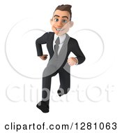 Clipart Of A 3d Young Brunette Caucasian Businessman Running Forward Royalty Free Illustration