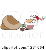 Clipart Of A Struggling Santa Clause Pulling A Heavy Christmas Sack Royalty Free Vector Illustration