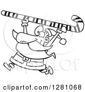 Black And White Happy Santa Clause Carrying A Giant Christmas Candy Cane Over His Head