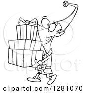 Cartoon Clipart Of A Black And White Cartoon Happy Christmas Elf Carrying A Stack Of Presents Royalty Free Vector Illustration
