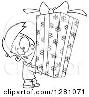 Cartoon Clipart Of A Black And White Cartoon Happy Little Boy Holding A Big Christmas Gift Royalty Free Vector Illustration