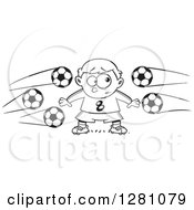 Cartoon Clipart Of A Black And White Cartoon Nervous Goal Tender Boy With Soccer Balls Flying At Him Royalty Free Vector Illustration by toonaday