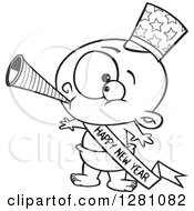 Cartoon Clipart Of A Black And White Cartoon New Year Baby Blowing A Horn Wearing A Top Hat And A Banner Royalty Free Vector Illustration