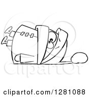 Cartoon Clipart Of A Black And White Cartoon Boy Fallen Over In An Overkill Of Winter Clothing Royalty Free Vector Illustration