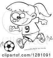 Cartoon Clipart Of A Black And White Cartoon Happy Little Girl Playing Soccer Royalty Free Vector Illustration by toonaday