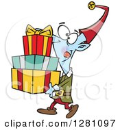 Cartoon Clipart Of A Happy Christmas Elf Carrying A Stack Of Presents Royalty Free Vector Illustration by toonaday