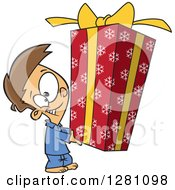 Cartoon Clipart Of A Happy Brunette Caucasian Boy Holding A Big Christmas Gift Royalty Free Vector Illustration by toonaday