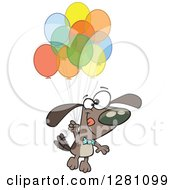 Cartoon Clipart Of A Happy Brown Dog Floating With A Bunch Of Party Balloons Royalty Free Vector Illustration by toonaday