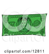 Clipart Picture Of A Garbage Can Mascot Cartoon Character On A Dollar Bill by Toons4Biz