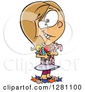Cartoon Happy Caucasian Girl Hugging And Standing In Her Candy Stash
