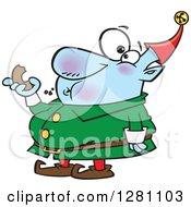 Cartoon Fat Christmas Elf Eating A Donut