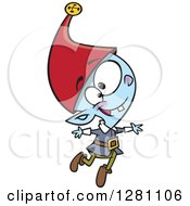 Cartoon Clipart Of A Happy Young Christmas Elf Jumping Royalty Free Vector Illustration