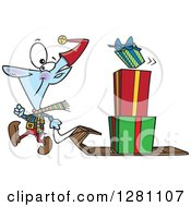 Cartoon Clipart Of A Happy Christmas Elf Pulling A Stack Of Presents On A Sled Royalty Free Vector Illustration by toonaday