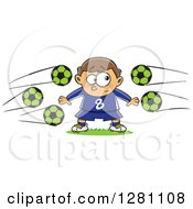 Cartoon Clipart Of A Nervous Goal Tender Caucasian Boy With Soccer Balls Flying At Him Royalty Free Vector Illustration by toonaday