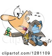 Cartoon Clipart Of A Last Minute Caucasian Man Running With Cash And A Box Royalty Free Vector Illustration