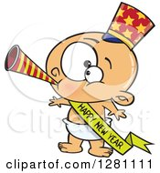 Cartoon Clipart Of A Caucasian New Year Baby Blowing A Horn Wearing A Top Hat And A Banner Royalty Free Vector Illustration