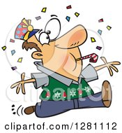 Cartoon Clipart Of A Festive Brunette Caucasian Man Blowing A Noise Maker And Jumping In Confetti On New Years Royalty Free Vector Illustration
