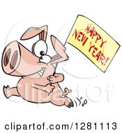 Cartoon Clipart Of A Pig Running With A Happy New Year Sign Royalty Free Vector Illustration by toonaday