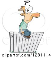 Cartoon Clipart Of A Caucasian Man Sitting And Thinking Ont He Fence Royalty Free Vector Illustration by toonaday