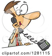 Cartoon Happy Caucasian Business Man Talking On A Landline Telephone