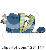Cartoon Clipart Of A White Boy Fallen Over In An Overkill Of Winter Clothing Royalty Free Vector Illustration by Ron Leishman