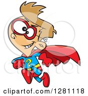 Cartoon Clipart Of A Caucasian Question Super Hero Boy Running Royalty Free Vector Illustration by toonaday