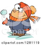 Cartoon Clipart Of A Mischievous White Boy Tossing And Catching A Snowball Royalty Free Vector Illustration by Ron Leishman