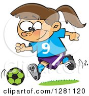 Cartoon Clipart Of A Happy Brunette Caucasian Girl Playing Soccer Royalty Free Vector Illustration by toonaday