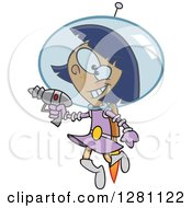 Cartoon Clipart Of A Happy Little Space Girl Flying And Holding A Ray Gun Royalty Free Vector Illustration by toonaday