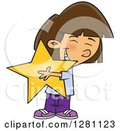 Cartoon Clipart Of A Happy Brunette Caucasian Girl Hugging A Star Royalty Free Vector Illustration