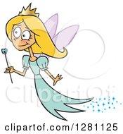 Cartoon Happy Blond Tooth Fairy Girl Flying With A Wand