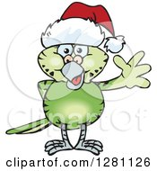 Clipart Of A Friendly Waving Green Budgie Parakeet Bird Wearing A Christmas Santa Hat Royalty Free Vector Illustration by Dennis Holmes Designs