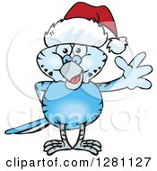 Clipart Of A Friendly Waving Dark Blue Budgie Parakeet Bird Wearing A Christmas Santa Hat Royalty Free Vector Illustration by Dennis Holmes Designs