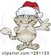 Clipart Of A Friendly Waving Tabby Cat Wearing A Christmas Santa Hat Royalty Free Vector Illustration