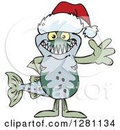 Clipart Of A Friendly Waving Barracuda Fish Fish Wearing A Christmas Santa Hat Royalty Free Vector Illustration
