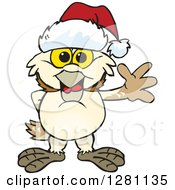 Clipart Of A Friendly Waving Barn Owl Wearing A Christmas Santa Hat Royalty Free Vector Illustration