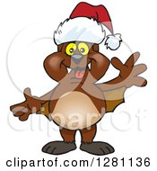 Clipart Of A Friendly Waving Bat Wearing A Christmas Santa Hat Royalty Free Vector Illustration by Dennis Holmes Designs