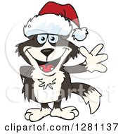 Clipart Of A Friendly Waving Border Collie Dog Wearing A Christmas Santa Hat Royalty Free Vector Illustration by Dennis Holmes Designs